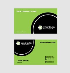 Green and black name card vector