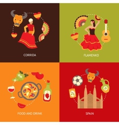 Spain icons composition set vector