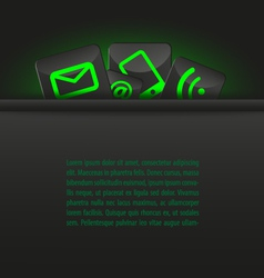 Icons in a pocket document template green black vector