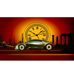 Time machine runs to the sunset in the backdro vector