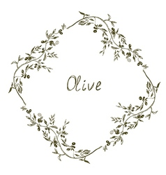 Olive frame hand drawn design vector