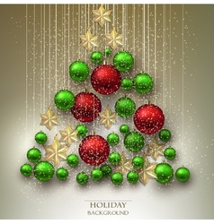 Christmas background with balls xmas tree made vector