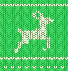 Flat knitting seamless pattern with deer vector