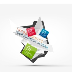 Modern polygonal origami paper infographics vector