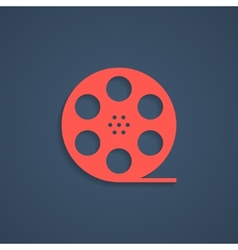 Red film reel icon with shadow vector