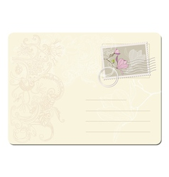 Blank post stamp with magnolia vector