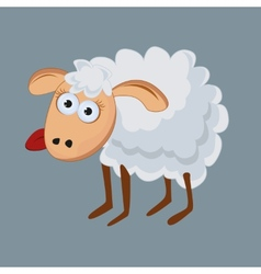 Funny sheep with his tongue hanging out vector