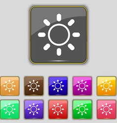 Brightness icon sign set with eleven colored vector