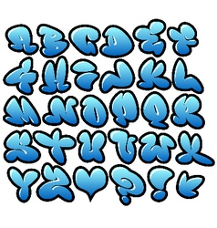 Graffiti bubble blue fonts with gloss and outline vector