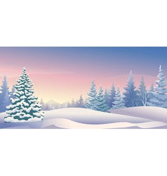 Winter sunrise panoramic vector