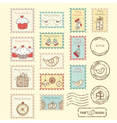Set of christmas post stamps vector