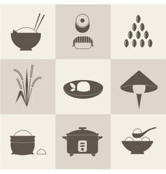 Rice icons vector