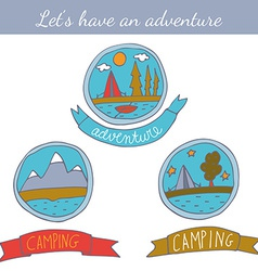 Set of doodle camping badges vector