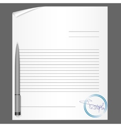 Blank contract with pen vector