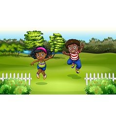 Black kids near the trees vector