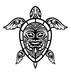 Close up turtle polynesian tattoo vector