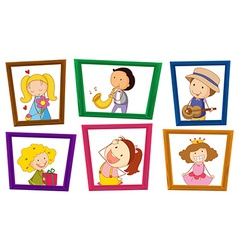 Children and photo frames vector
