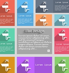 Washbasin icon sign set of multicolored buttons vector