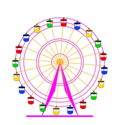 Silhouette attraction colorful ferris wheel vector
