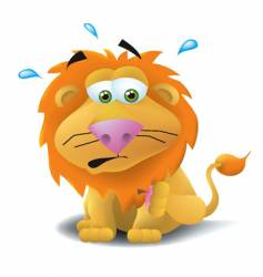 Lion with thorn in paw vector