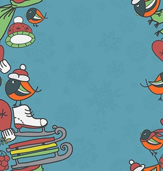 Winter seamless border with bullfinches and sleds vector