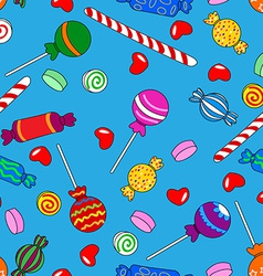 Seamless candy pattern over blue vector