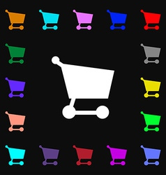 Shopping basket icon sign lots of colorful symbols vector