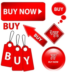 Red buy set vector