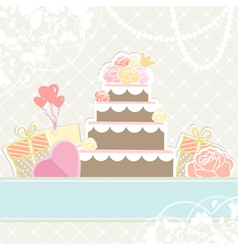 Wedding or birthday cake with gifts vector