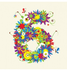 Number 6 floral design vector