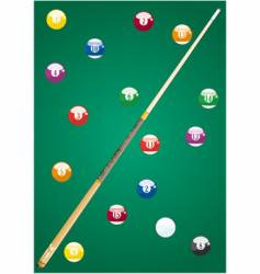 Pool balls and cue vector