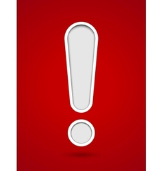 Cut out hole exclamation sign on red background vector