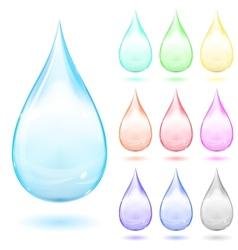 Set of multicolored drops vector