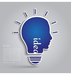 Bulb with silhouette human face vector