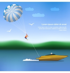 Summer parachuting over river with boat vector