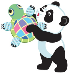 Panda holding turtle toy vector