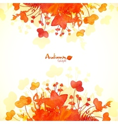 Orange autumn leaves watercolor painted background vector