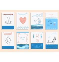 Greeting card set cute sea objects collection vector