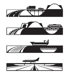 Different types of roads with vehicles vector