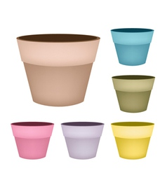Set of flower pots on white background vector