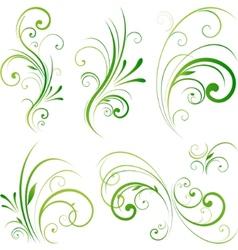 Spring floral decorative swirls vector