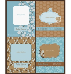 Set of baby arrival cards vector