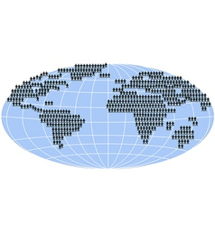 People standing on world map vector