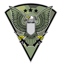 Military bird mascot grab a pair of rifle vector
