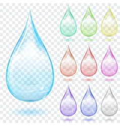 Set of multicolored transparent drops vector