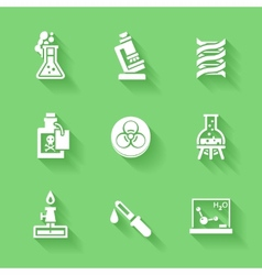Set of white chemistry icons vector