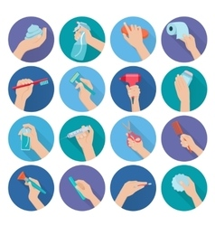 Hand holding objects flat vector