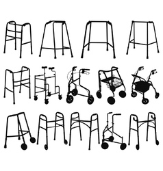 Zimmer frame silhouettes vector