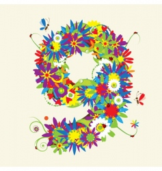 Number 9 floral design vector