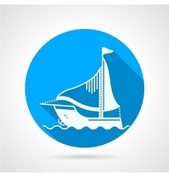 Sea yacht round icon vector